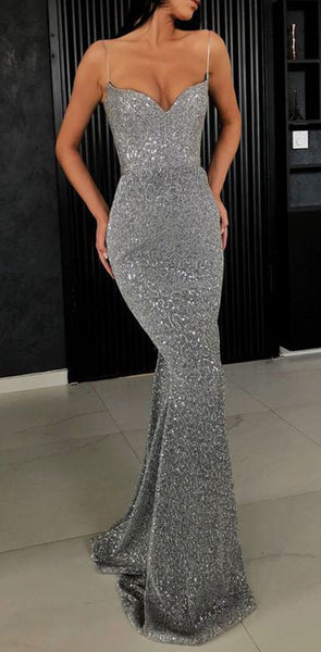 2020 Charming Sexy Spaghetti Straps Cheap Silver Red Sequins Long Prom Dresses,Mermaid Evening Party Dress, PD0978
