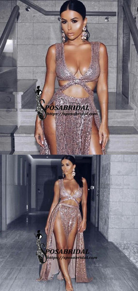 2019 Charming A-Line Sexy Sequin Sparkly Rose Gold Split Modest Party Prom Dresses, PD0900 - SposaBridal