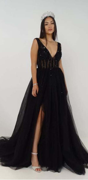 2020 Charming  Deep V-Neck Tulle New Arrival Party Cocktail Evening Long Prom Dresses Online,PD0185