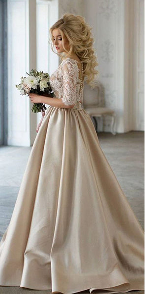 2020 Charming New Arrival Half Sleeves Lace Top Soft Beautiful Simple Wedding Dress, PD0287