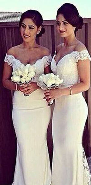 2019 Charming White Long Cap Sleeve Lace Mermaid Sexy Long Bridesmaid Dresses, WG10
