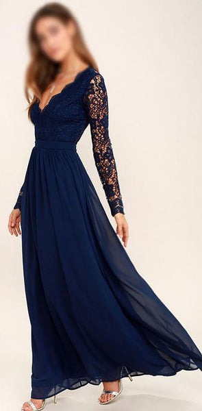 2020 Cheap Chiffon Lace top Long Sleeves Custom Most Popular Open Back Bridesmaid Dress , WG215