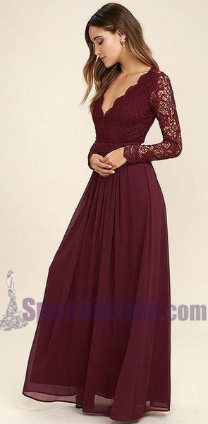 Cheap Chiffon Lace top Long Sleeves Custom Most Popular Open Back Bridesmaid Dress , WG215
