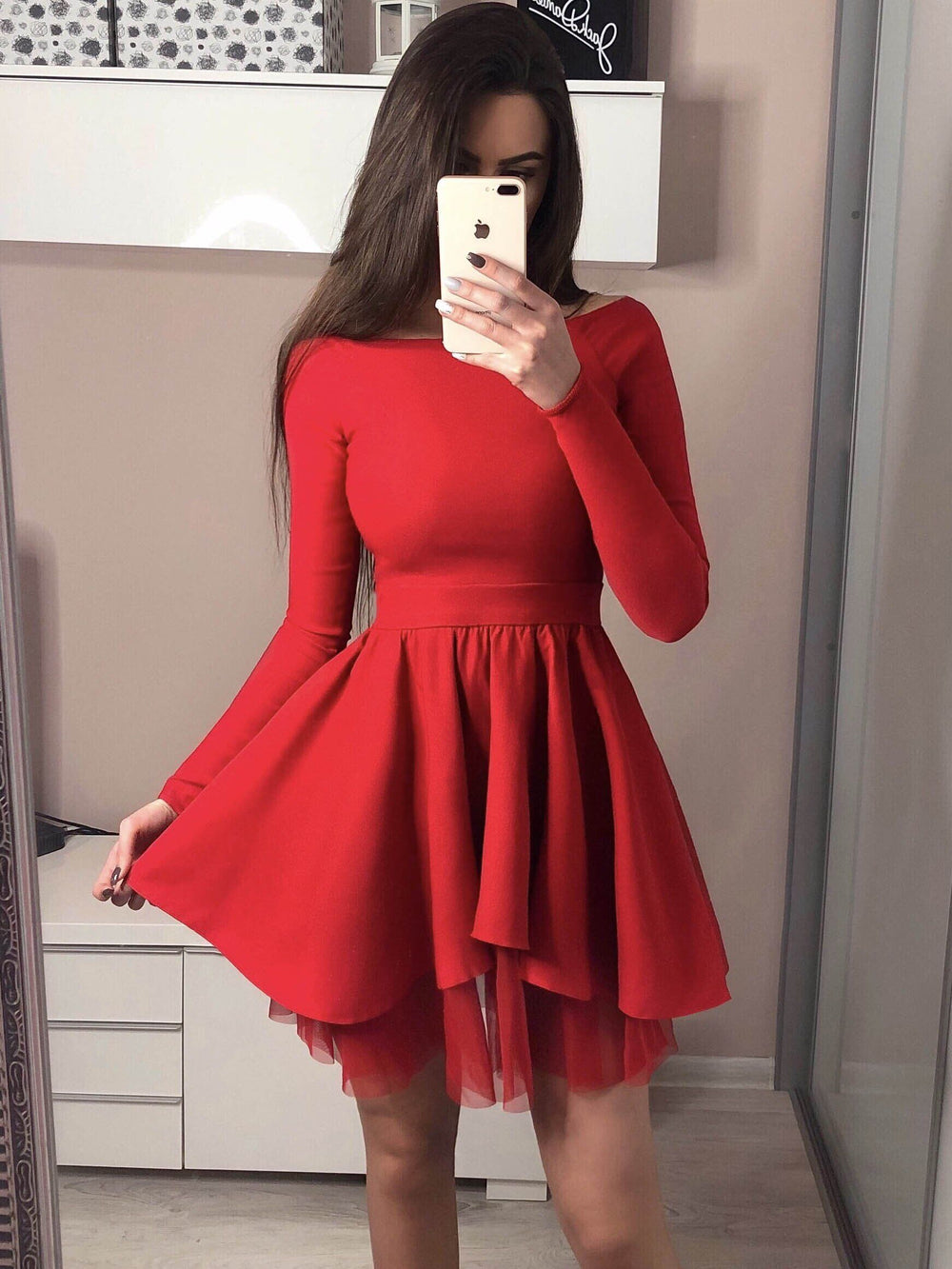 2019 Cheap Long Sleeves Black Red Pink Popular Junior Short A-line Freshman Homecoming Dresses, BD0500 - SposaBridal