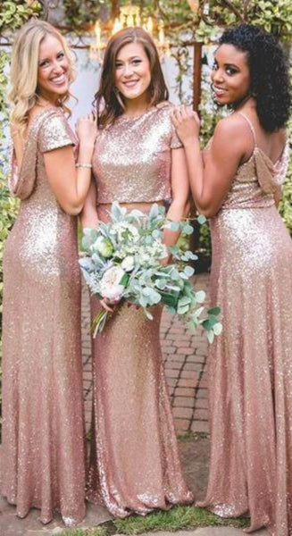 2020 Cheap Mismatched Sequin New Custom Formal Bridesmaid Dresses, Prom Dress, PD0370