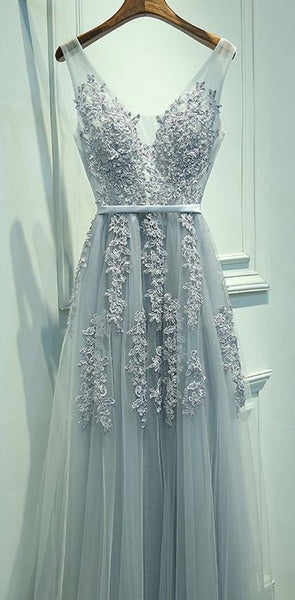 2019 Custom  Cheap V Neckline Grey Lace Evening Tulle Long Party  online Prom Dress,  PD0324 - SposaBridal