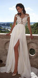2020 Long Top lace Appliques Side Slit Chiffon Cheap Party Evening Prom Dresses,PD0046