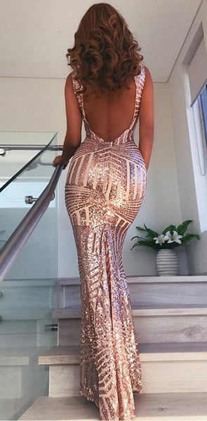 2019 Open Back Sequin Sparkly Mermaid Fashion Sexy Elegant Prom Dresses, Evening party dress, PD0609