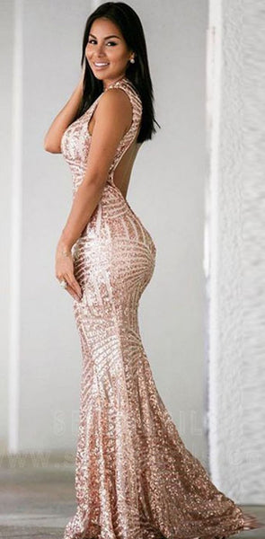 Open Back Sequin Sparkly Mermaid Fashion Sexy Elegant Prom Dresses, Evening party dress, PD0609