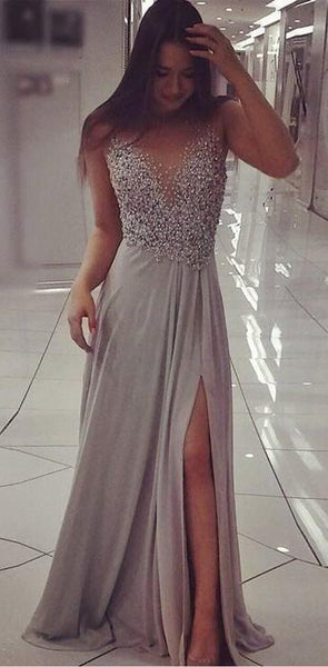 2019 Sparkly Beaded Chic A Line Prom Dress Modest Cheap Long Silver Grey Prom Dresses, PD0819