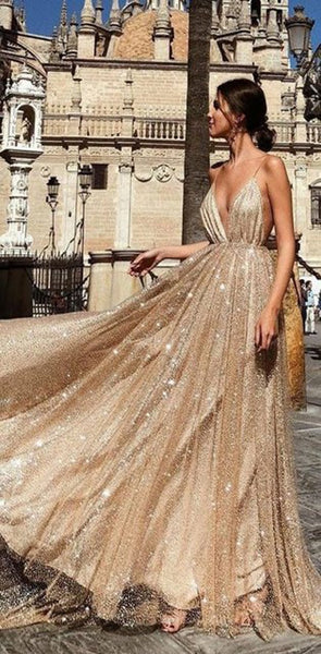 2019 Charming Sparkly Sequin Sexy Fashion Spaghetti Straps Prom Dresses, Shinning Evening dress, PD0772
