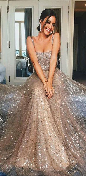 2020 Custom Sparkly Sequin Spaghetti Straps Stunning Long Cheap Unique Modest Prom Dresses, PD0829