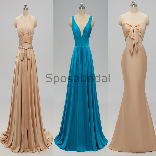 Simple Halter Blue Pink White Mermaid Modest Prom Dresses PD2236