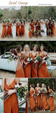2020 Cheap Spaghetti Straps Simple Popular A-Line V-Neck Orange Fall Bridesmaid Dresses with Split , WG302