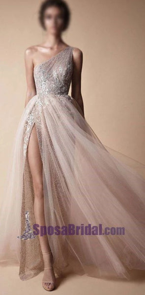 2020 One Shoulder Sparkly Side Split Elegant Modest Free Custom Prom Dresses, Fashion Prom dress, PD0686
