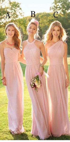 2020 Pastel Pink Cheap Long Lace  Chiffon Bridesmaid Dresses, Mismatched Popular Custom Bridesmaid Dress For Wedding Guest, WG247