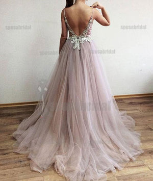 Spaghetti Straps Tulle Side Slit Fashion Popular Modest High Quality Prom Dresses, Evening dresses,  PD0589