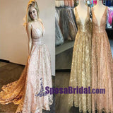 Long  Full Lace Floor-Length Prom Dresses, V-Neck Luxurious Modern Prom Dress, Evening Party Dresses, PD0722