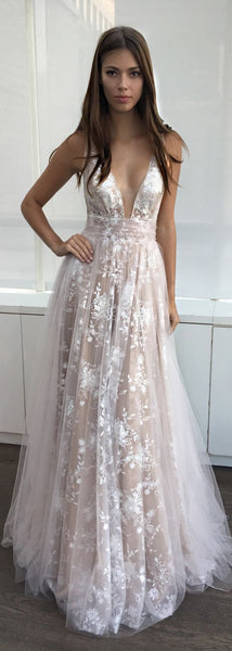 2019 A-Line Deep V-Neck Tulle Lace Appliques Floor-Length  Long Sexy Party Prom Dress-PD0281 - SposaBridal