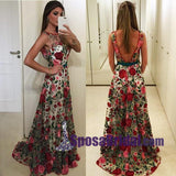 Exquisite Round Neck Sleeveless Backless Sweep Train Floral Lace Prom Dresses,  Deep V Back Sexy Evening Dresses, PD0723