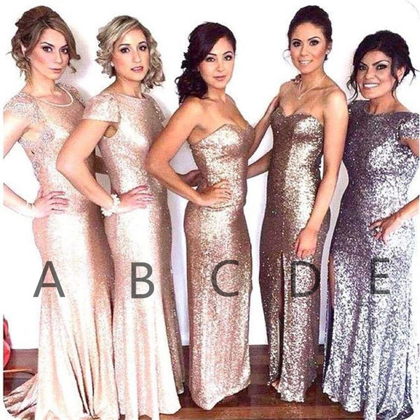 Sequin Different Style Custom Cheap Fashion Normal Bridesmaid Dresses, PD0358