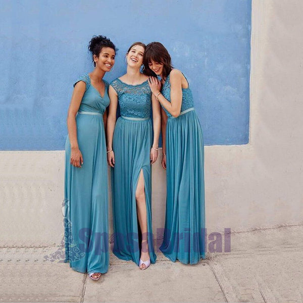 Chiffon and Lace Simple Popular Custom Bridesmaid Dresses,, Mismatched New Bridesmaid Dress,  PD0548