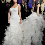 Simple Design Hi-low Sexy Mermaid White Chiffon Wedding Party Dresses, WD0022