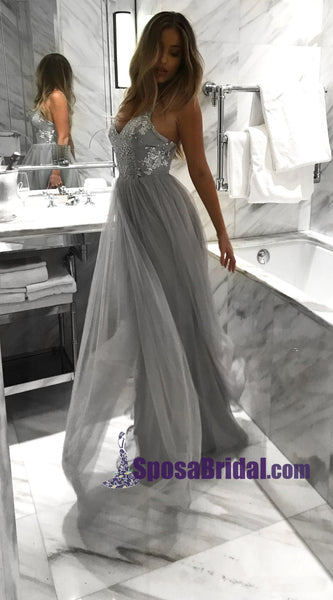 Silver Grey Long Tulle Sequin Straps Sexy Elegant Prom Dresses, Most Popular Prom Dress, hot sale evening dresses, PD0724