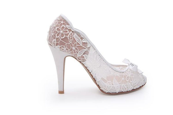 fb0c297dc55 Ivory Lace High Heels Fish Toe Sexy Wedding Bridal Shoes With Tow ...