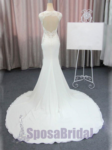 Long Mermaid Sleeveless Elegant Open Back Lace Custom Cheap Wedding dresses, Bridals Dresses, PD0615