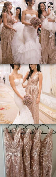 2019 Popular Cheap Sequin Long Off Shoulder V-Neck Floor-Length Bridesmaid Dresses, WG09 - SposaBridal