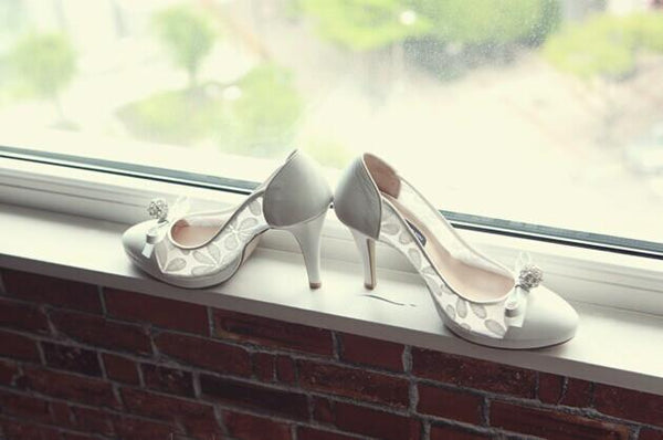 High Heels Pointed Toe White Lace Sexy Wedding Bridal Shoes, S022