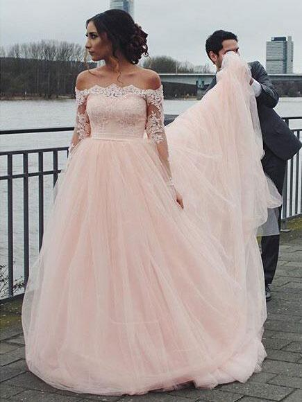Off Shoulder Long Sleeve Pink A-line Wedding Dresses Online, WD344