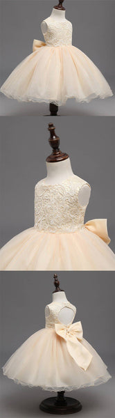 Beige Lace Top Sleeveless Flower Girl Dresses, Popular Tulle Flower Girl Dresses,  FG039 - SposaBridal