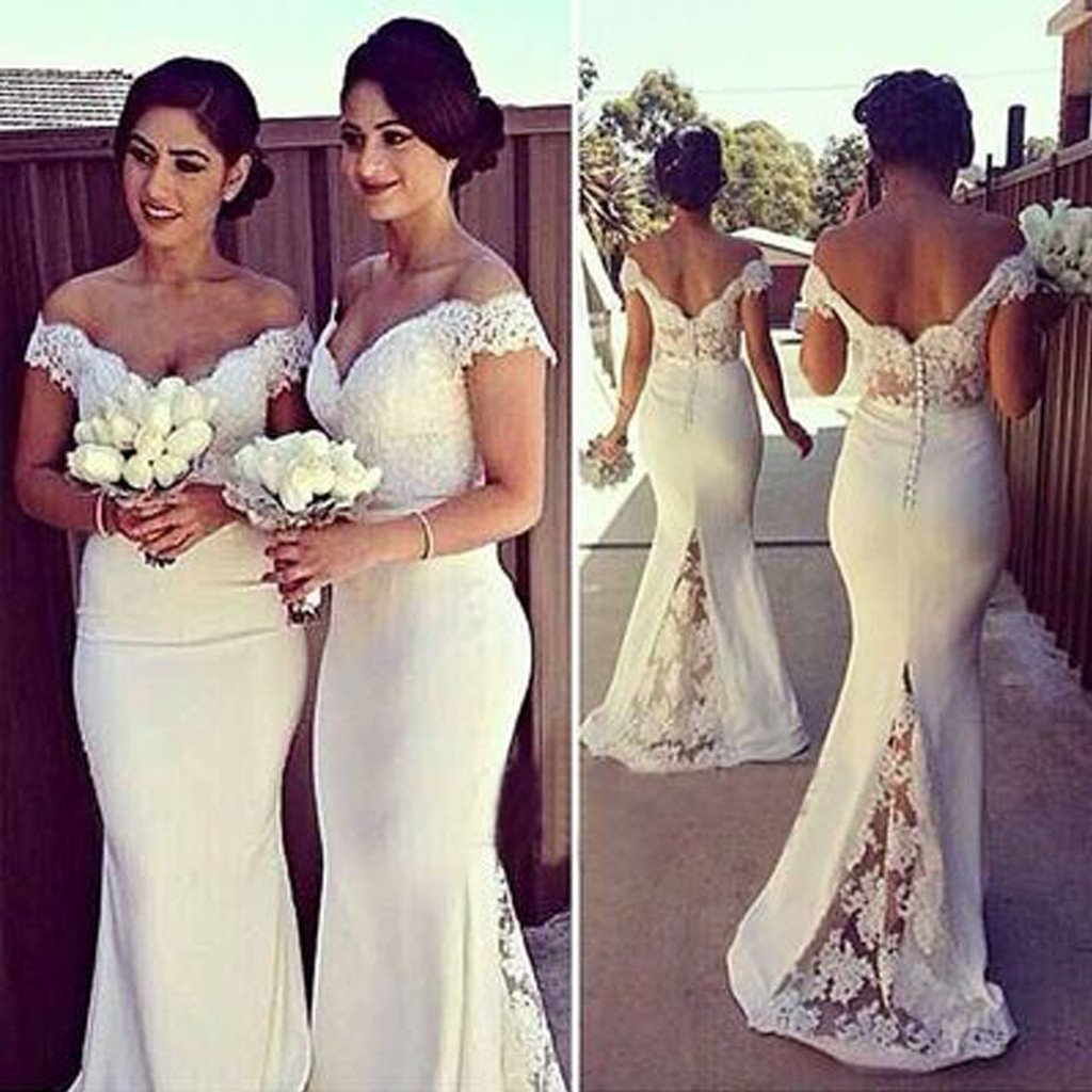 2019 Charming White Long Cap Sleeve Lace Mermaid Sexy Long Bridesmaid Dresses, WG10 - SposaBridal