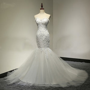 Sweetheart Lace Sexy Mermaid Lace Up Tulle Wedding Party Dresses, WD0028