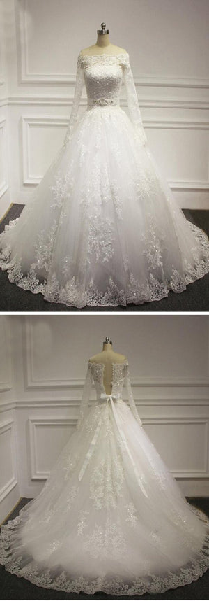 Straight Neck Long Sleeve White Lace Beaded Wedding Party Dresses, WD0029