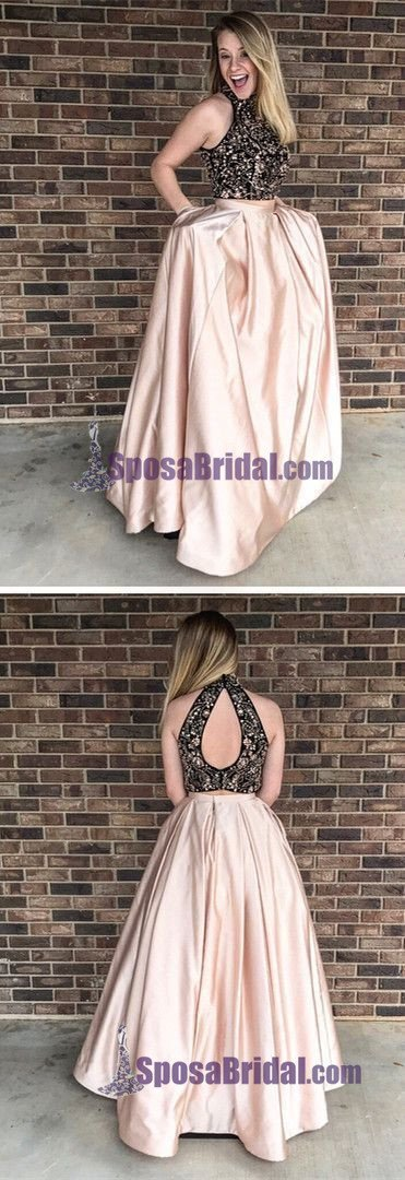 2019 Beading Two Pieces Sparkly Open Back Halt Prom Dresses, Popular Fashion Prom Dress for party,PD0669