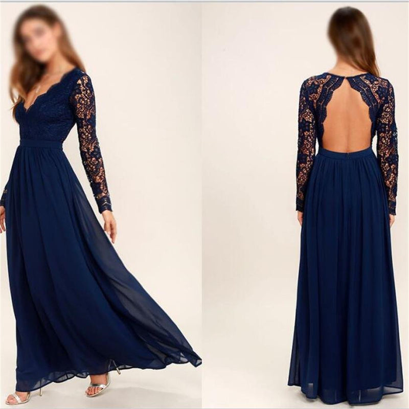 2019 Cheap Chiffon Lace top Long Sleeves Custom Most Popular Open Back Bridesmaid Dress , WG215 - SposaBridal