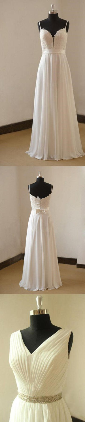 Spaghetti Straps Simple Sweetheart  Sleeveless Cheap Beach Wedding Dresses, WD0024