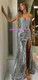 Silver Sequin Halter Slit Mermaid Unique Design, Popular Sexy Prom Dress, PD3001