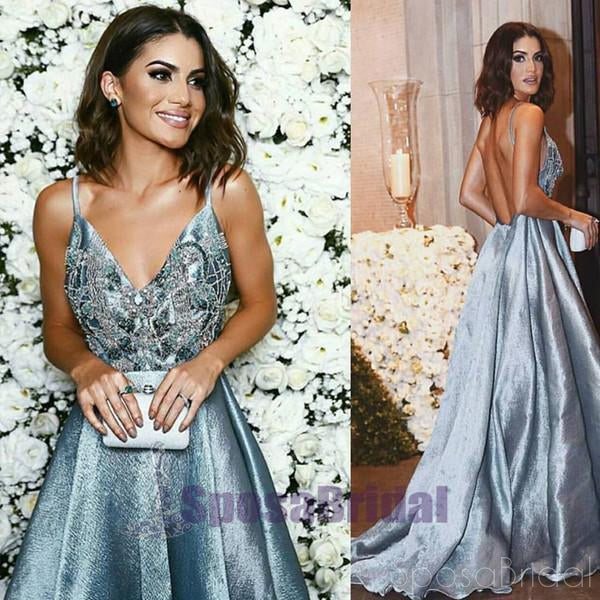 2019 Spaghetti Straps Backless A-line Sparkly Long Blue V-Neck Prom Dresses, Party Dress, Evening dresses,  PD0565 - SposaBridal