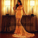 Long Sleeves Lace Mermaid Sexy High Quality Custom Prom Dresses, Evening Dresses, PD0519