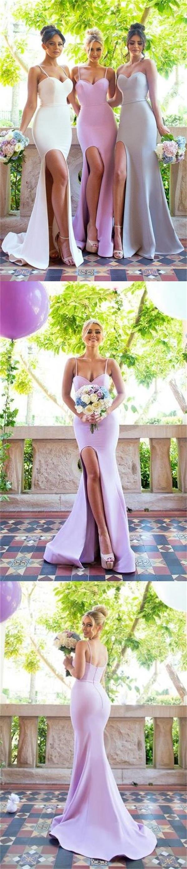 2018 Mermaid Spaghetti Straps Sweetheart Simple Bridesmaid Dresses with small train, PD0361