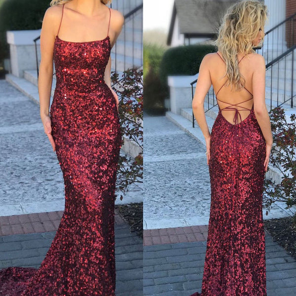 Red Sequin Mermaid Sparkly Sexy Cheap Custom Prom Dresses, Evening Dresses, Formal Prom Gowns, PD0747