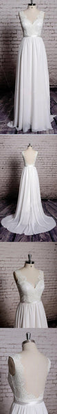 Charming Most Popular Backless A-line Lace Top V-Neck Long Wedding Party Dresses, WD0108 - SposaBridal