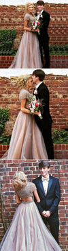 Long A-Line Sparkly Beading Short Sleeves Elegant Prom Dresses, Prom Gowns, wedding dresses,  PD0564