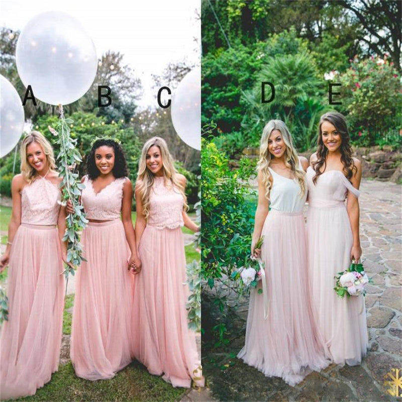 Cheap Custom Modern Fashion Bridesmaid Dress, Blue and Pink Mismatched Bridesmaid Dresses, PD0426 - SposaBridal