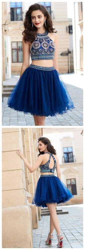 2 Pieces Halter Beading Homecoming Dresses,Sparkly Cocktail Dresses,Pretty Graduation Dresses, BD0225