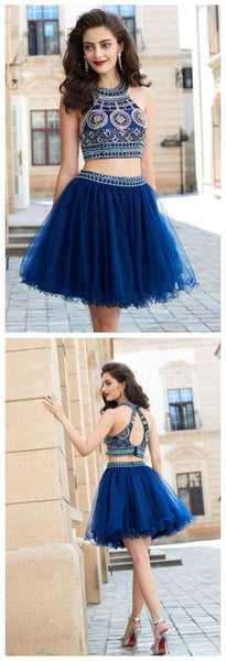 2 Pieces Halter Beading Homecoming Dresses,Sparkly Cocktail Dresses,Pretty Graduation Dresses, BD0225 - SposaBridal